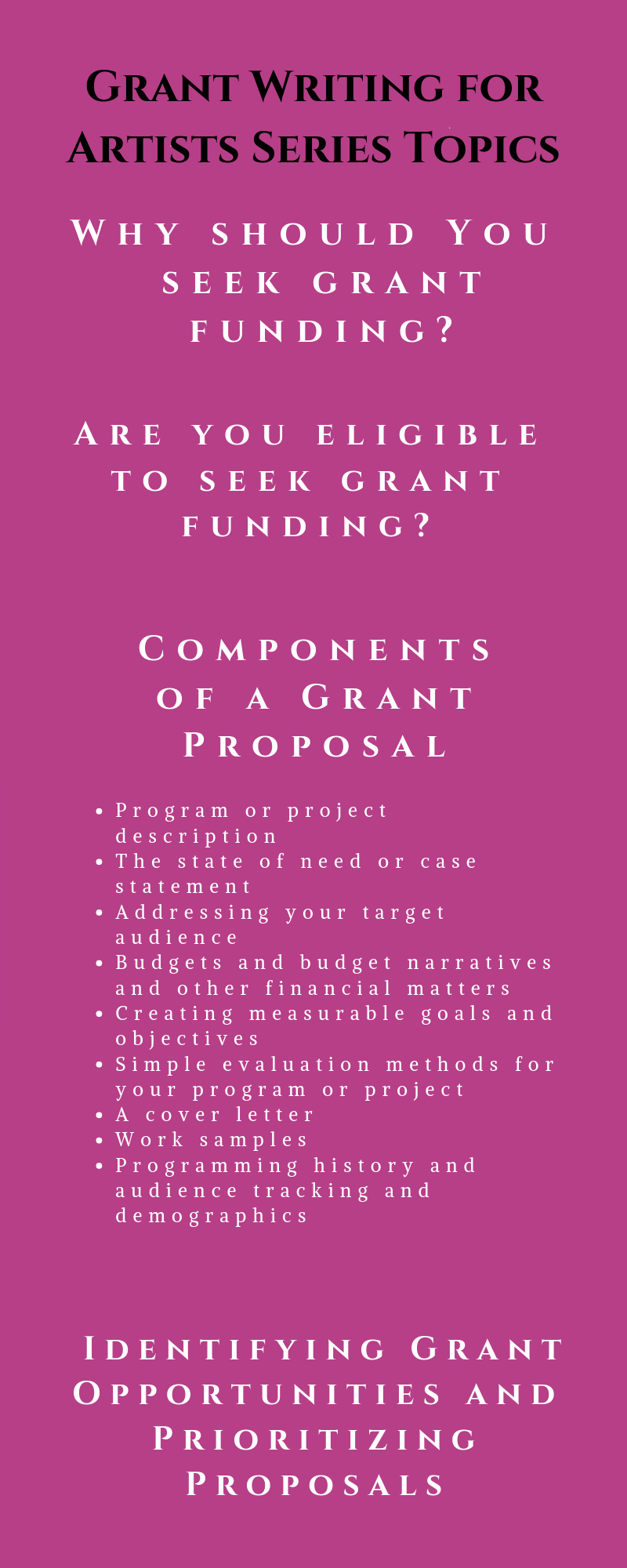 Grant Writing for Artists – Amanda Faye Consulting